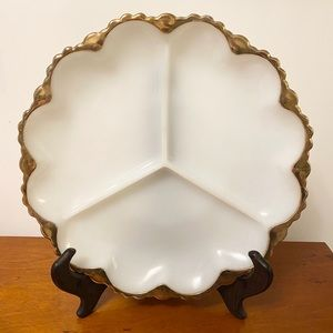 •Fire King• Gold Trimmed Milk Glass Divided Plate